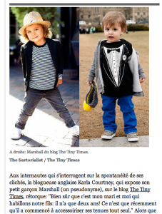 L'express  Les blogs de streetstyle s'intéressent aux enfants   5/6/2012