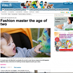 "Vau.fi | Muodin mestari kaksivuotiaana (""Fashion master at the age of two"") 