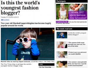iltalehti.fi | Onko tässä maailman nuorin muotibloggaaja? (Is this the world's youngest fashion blogger?) | 10/7/12