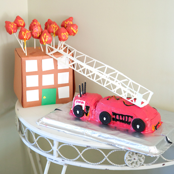 Fire Truck cake and cake pops