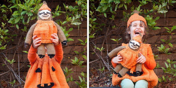 Knitted pumpkin costume