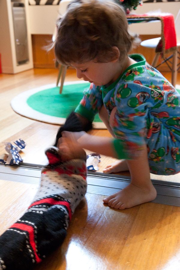 knitted stocking christmas morning