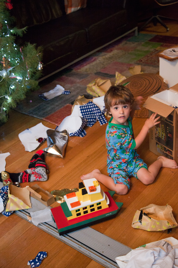 opening presents christmas morning