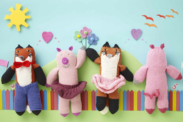knitted-toy-fox-pig-tutu-bowtie